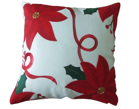 decorative christmas embroidered poinsettias design throw