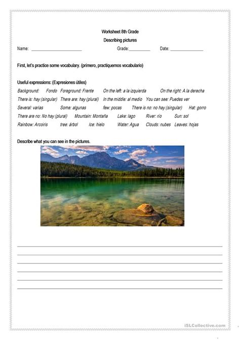 describing places worksheet  esl printable