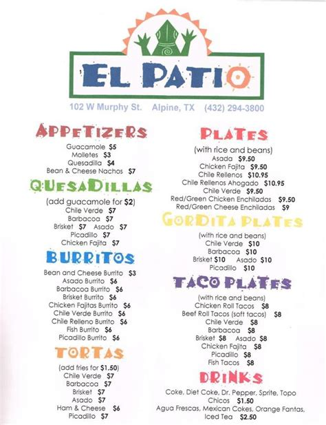 Patio Menu by El Patio Menu Alpine Avalanche Menu