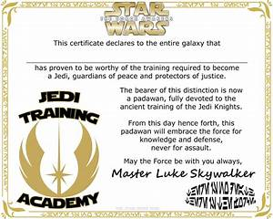 free printable jedi knight training academy certificate With star wars jedi certificate template free