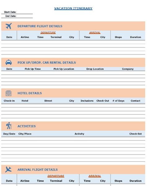 blank itinerary templates word excel samples