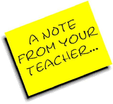 Image result for note from the teacher clipart