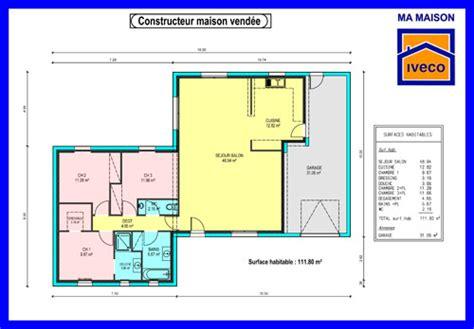 plan de maison plain pied 4 chambres constructeurvendee plans de maisons