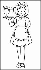 Coloring Pages Waitress Jobs Kindergarten Waiter Community Helpers Worksheets Preschool Job Colouring Workers Worksheet Profession Help Printable Drawing Adult Books sketch template
