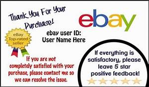 1000 ebay seller thank you business cards personalized With ebay feedback templates