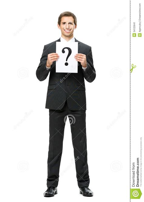 full length portrait  businessman  question mark