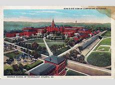 Ga Tech Campus bird's eye view postcard