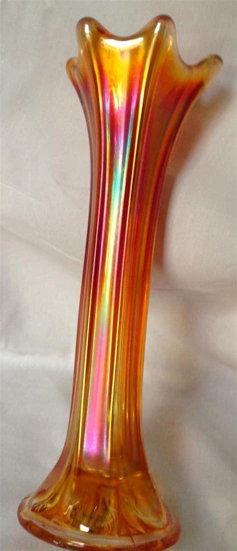 carnival glass vase antique imperial morning vase marigold carnival glass