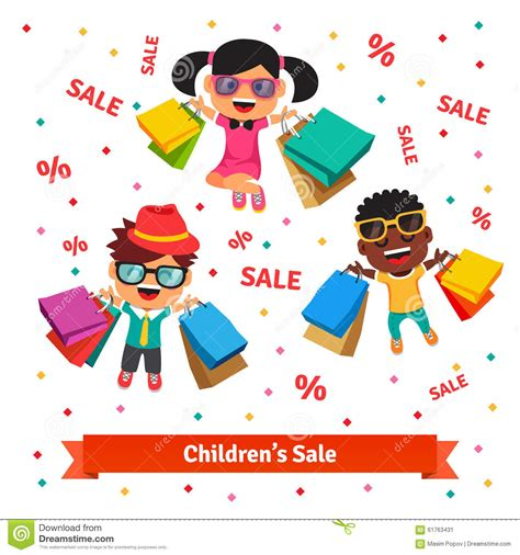 Kinder Verkaufen by Children S Sale Happy Smiling And Jumping Stock