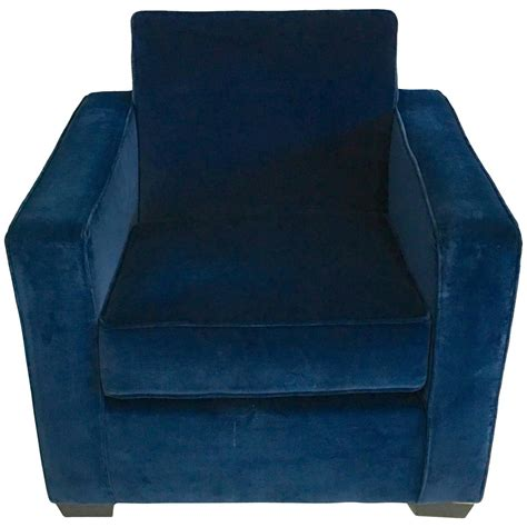 ralph deco style blue velvet club chair for
