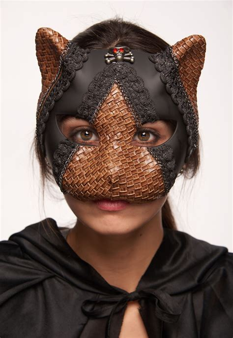 steampunk kitten mask  leather  lace