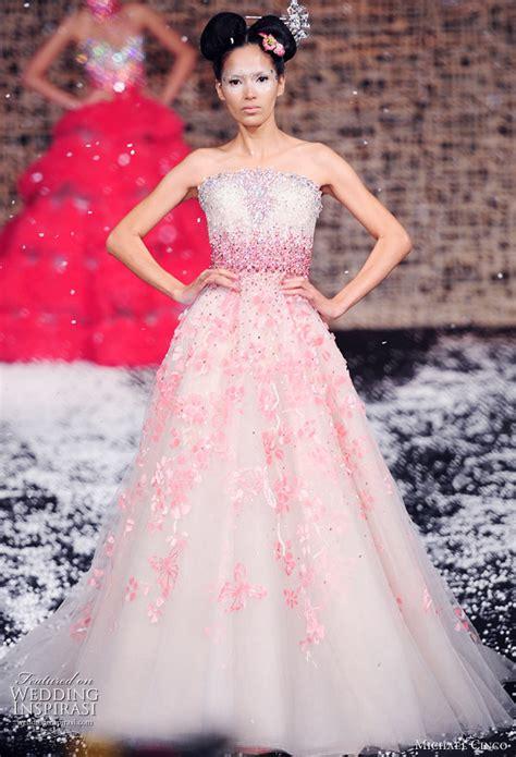 pink wedding dresses michael cinco wedding gowns 2010 wedding inspirasi