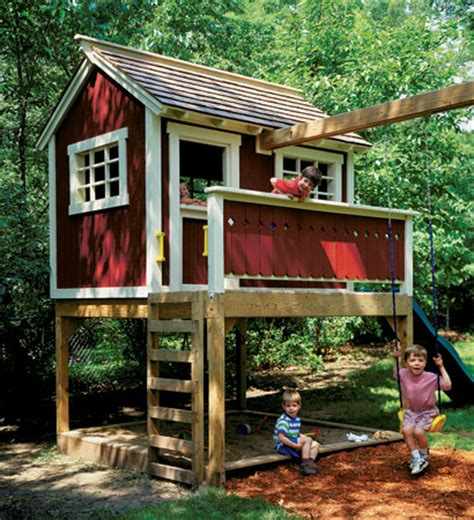 Backyard Clubhouse Plans by Backyard Playhouse Woodsmith Plans