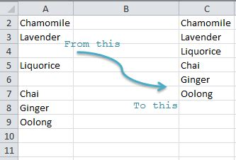 excel array remove blank rows excel ignore blanks