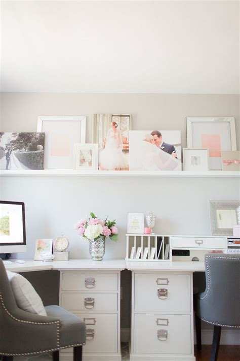 pink home office pink gray home office shelf desk grey and bookshelf organization