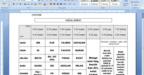 panitia pendidikan islam skkj sb contoh jadual harian