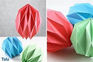 Origami Lampe Anleitung : origami lampe falten lampenschirm aus papier basteln ~ Watch28wear.com Haus und Dekorationen