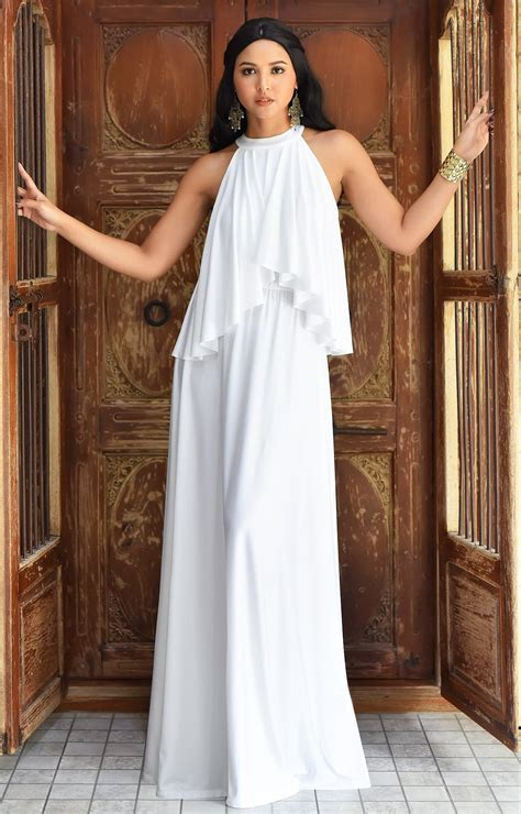 koh koh womens long sleeveless halter layered flowy