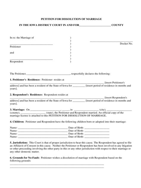 iowa divorce forms free templates in pdf word excel to