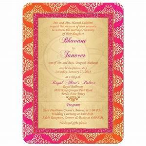 Wedding invitation orange fuchsia gold damask faux for Wedding invitation designs fuchsia pink