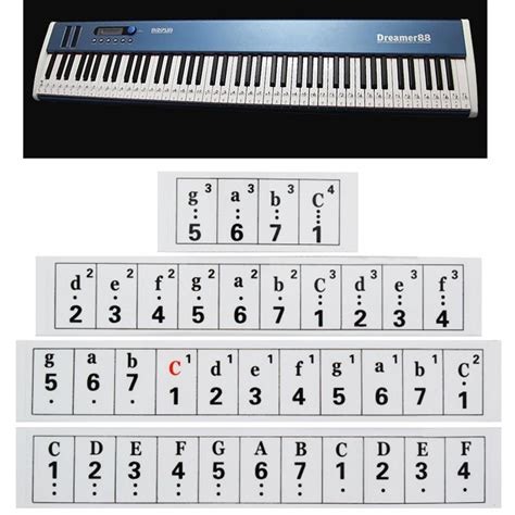 mm thickness transparent piano keyboard sticker