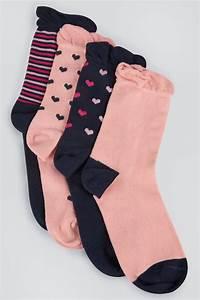 Lot De 4 Paires De Chaussettes Rose Bleu Marine Rayures