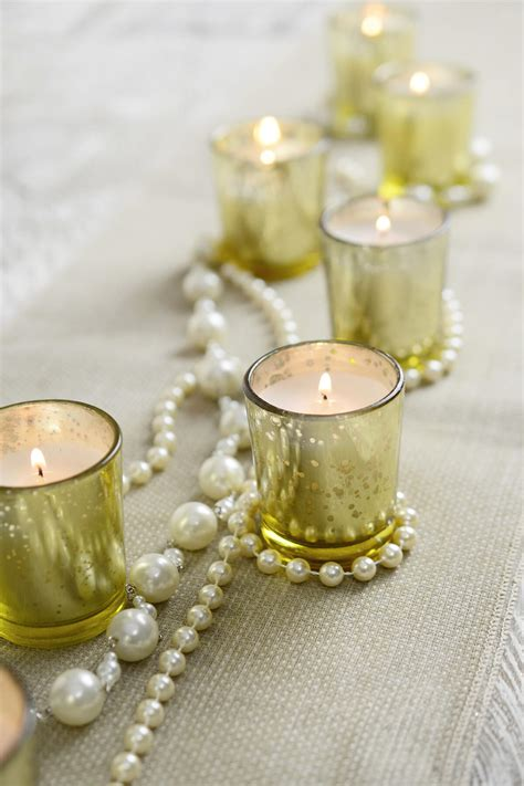 pre filled candles gold mercury glass votive holders
