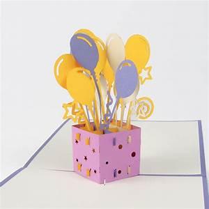 Bastelideen Für Erwachsene Geburtstag : geschenk mit luftballons 3d pop up karten pop up ~ Lizthompson.info Haus und Dekorationen