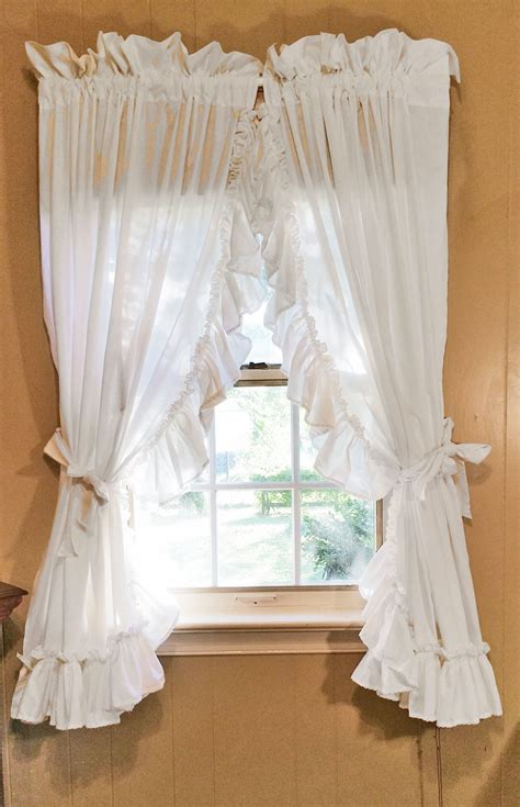 white ruffle curtains ruffled country curtains white