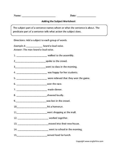englishlinxcom subject  predicate worksheets