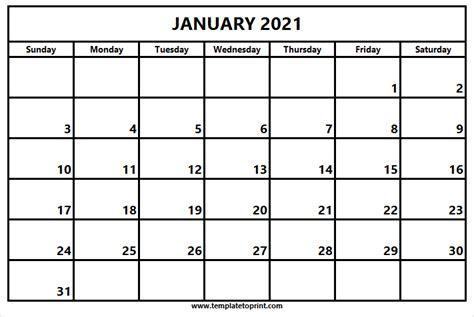 print january  calendar template printable calendar