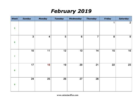 february calendar printable format calendar office