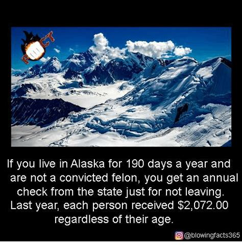 Alaska Memes - if you live in alaska for 190 days a year and are not a convicted felon you get an annual check