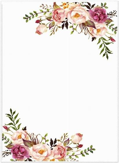 Border Invitation Floral Flower Borders Template Watercolor