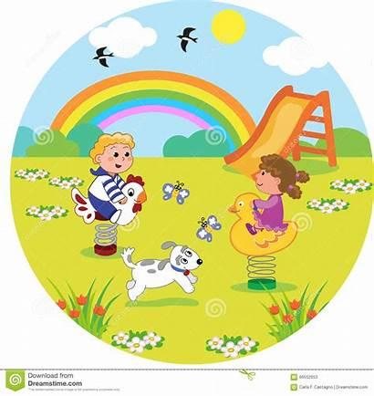 Playground Cartoon Playing Spring Park Round Illustration