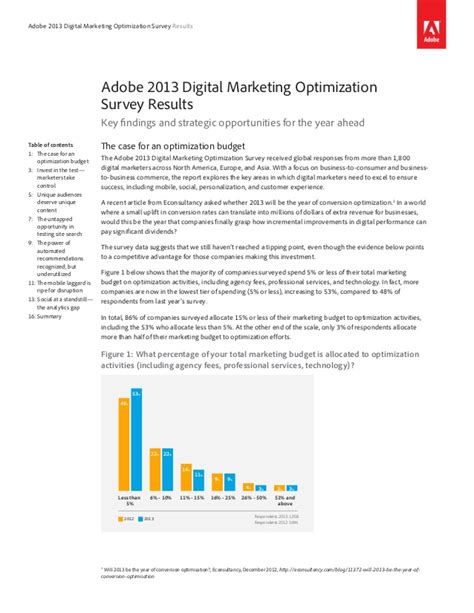 Marketing Optimization - digital marketing optimization survey