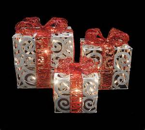 set of 3 sparkling white swirl gift boxes lighted christmas yard art decorations ebay