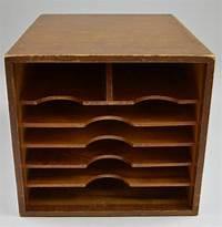 "wood desktop organizer Vintage Handmade Wood Desktop Mail Organizer With Dovetail Corners - 12.25"" Tall"