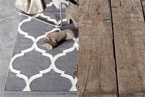 Tapis Gris Blanc : tapis en coton casablanca gris anthracite blanc ~ Teatrodelosmanantiales.com Idées de Décoration