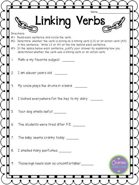 linking verbs anchor chart free items aprender ingl 233 s