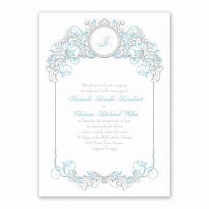 Disney fairy tale filigree invitation cinderella for Free printable disney wedding invitations templates