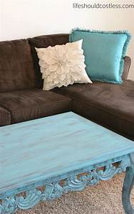 coffee table make over in turquoise americana decor With designer pillows for less
