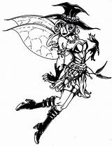 Halloween Coloring Fairy Pages Adult Adults Printable Witch Drawings Intricate Goth Colorings Emo Punk sketch template