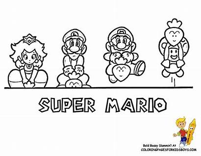 Mario Coloring Super Characters Pages Printables Bros