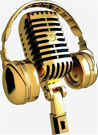 Microphone Golden Clipart Transparent Mic Microfonos Headphones