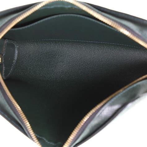 louis vuitton pochette baikal clutch taiga leather  stdibs