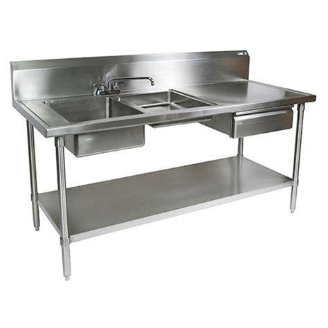 stainless steel food prep table with sink john boos ept6r10 dl2b 96l stainless steel prep table 96