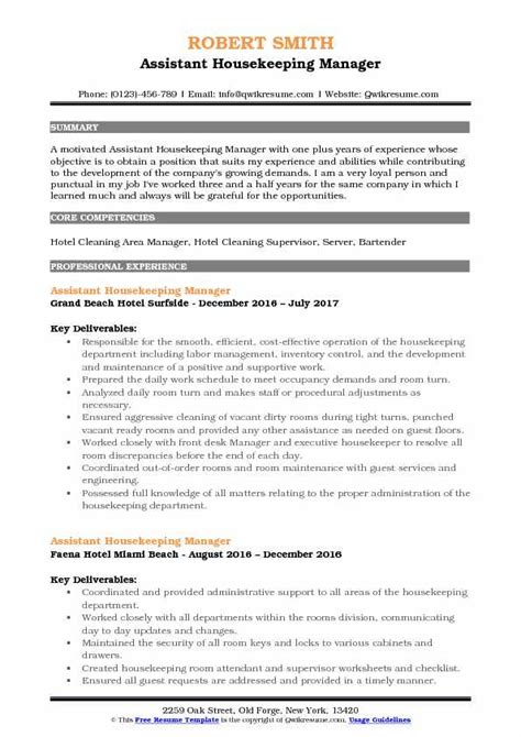 Team Manager Resume Exles by Assistant Housekeeping Manager Resume Sles Qwikresume
