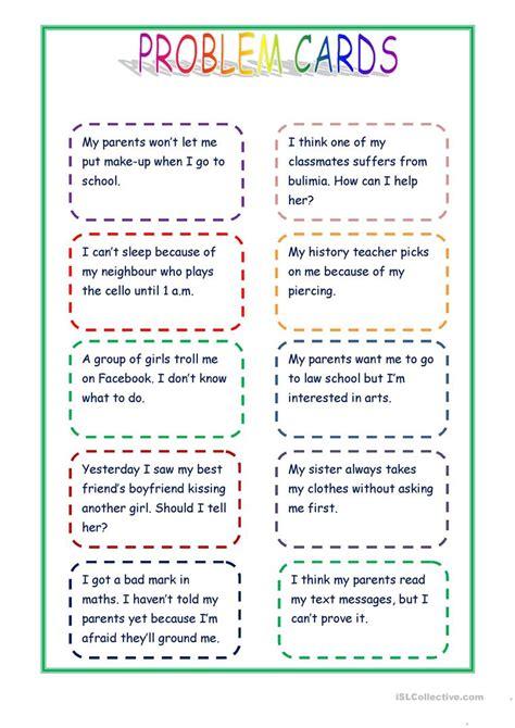 giving advice problem cards english esl worksheets
