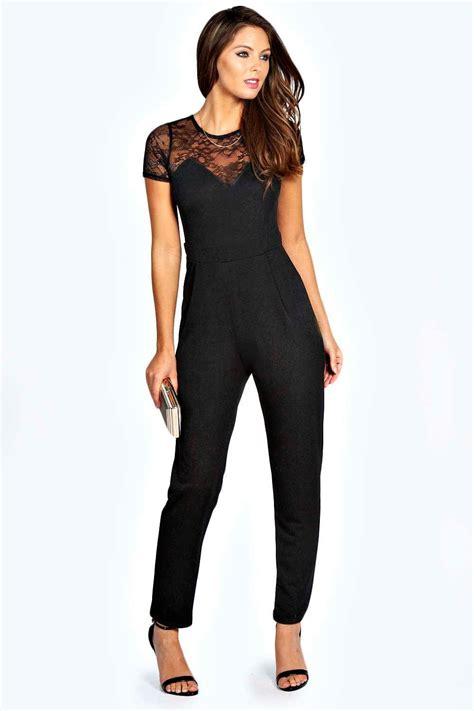 womens jumpsuits boohoo womens lace neck detail jumpsuit ebay